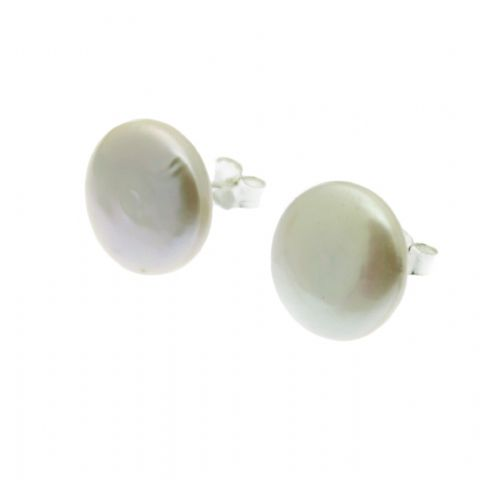 Coin Pearl Earrings Sterling Silver Studs